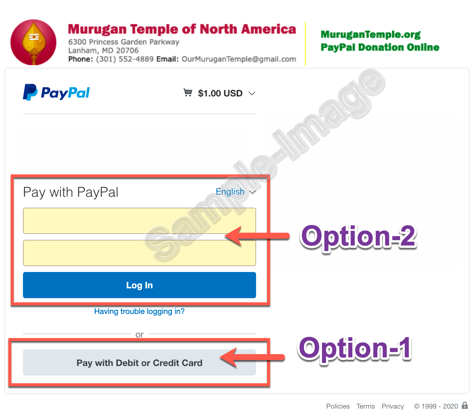 Options within PayPal
